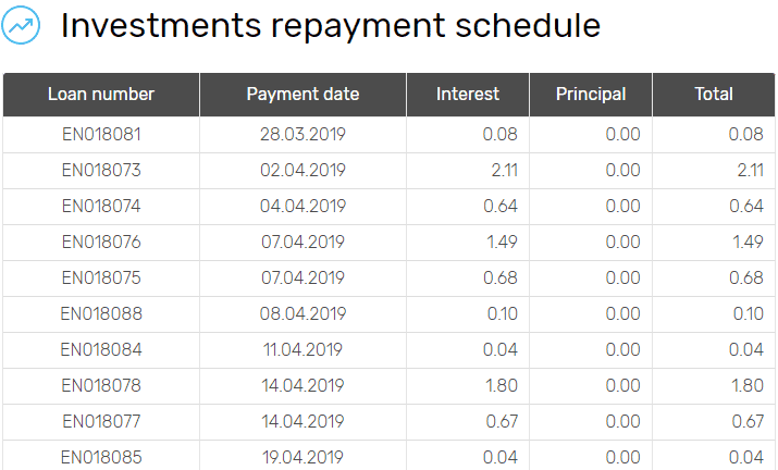 Investment repayment schedule