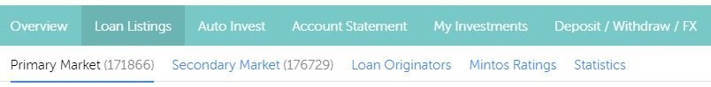 Website header under loan listings, with the sub categories