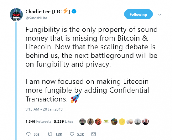Charlie Lee from his Twitter account taking about his next steps in development of Litecoin.