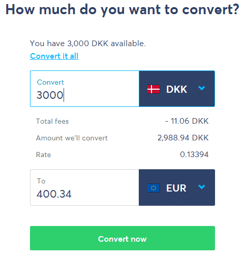 Convertion of 3000 DKK to Euro.