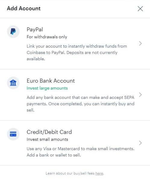 Coinbase account options