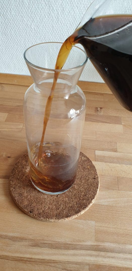 Pouring the coffee into a decanter