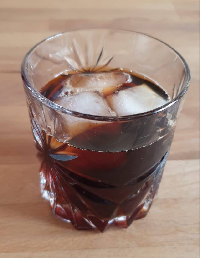 After the ice cubes you want to add the coffee