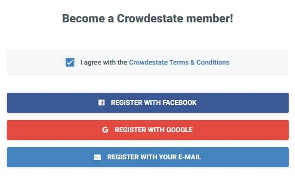 Sign up with Facebook Google or your email
