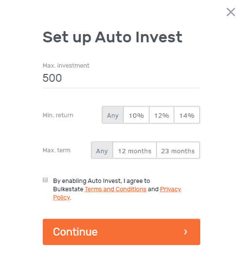 Auto invest on Bulkestate