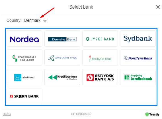 Choice of bank when using Trustly
